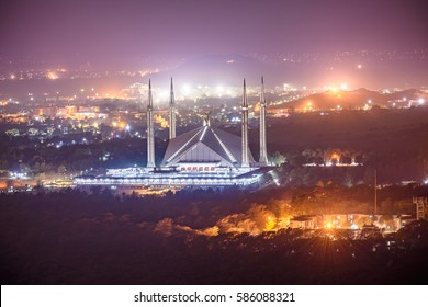 Aerial view of Shah Faisal Mosque Islamabad, Pakistan.