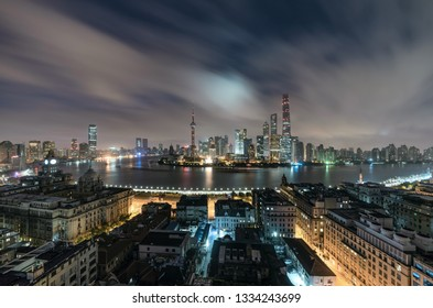 Aerial View of Shanghai Cityscape and city skyline at dawn