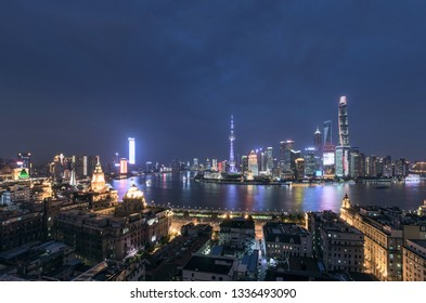 Aerial View of Shanghai Cityscape and city skyline at Night