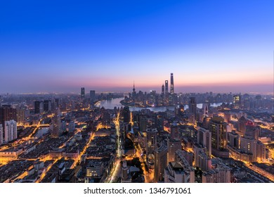Aerial View of Shanghai Cityscape at dawn