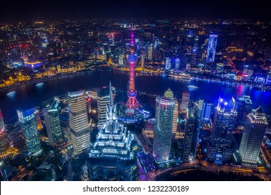 Aerial View of Shanghai Cityscape at night time