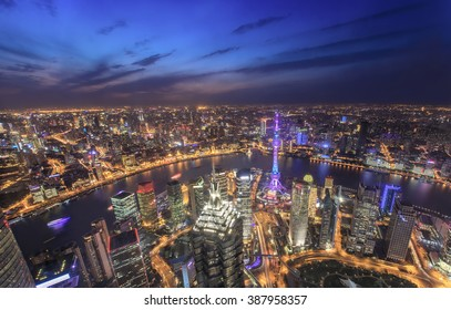Aerial View of Shanghai Cityscape at Night