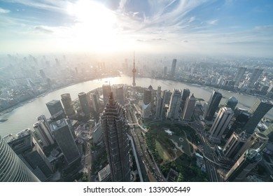 Aerial view of Shanghai cityscape and skyline at sunset