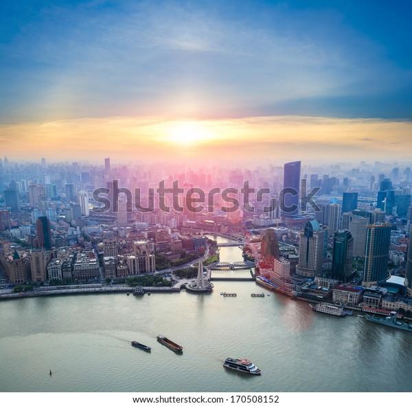 aerial view of shanghai and  huangpu river at dusk