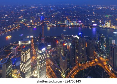 aerial view of shanghai lujiazui finance
