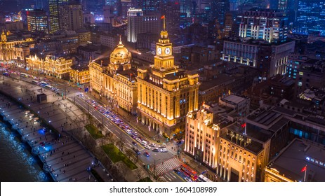 Aerial view Shanghai at night  The Bund, The Bund in Shanghai is a famous waterfront area in central Shanghai at night, China.