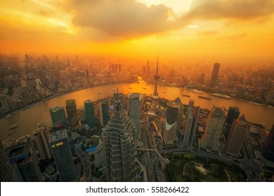 aerial view of shanghai at night from jinmao building, best point roof top view in Shanghai city, China with sunset