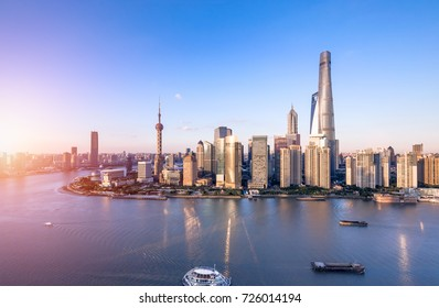 Aerial View of Shanghai skyline and cityscape