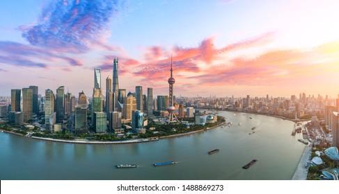 Aerial view of Shanghai skyline at sunset,China.