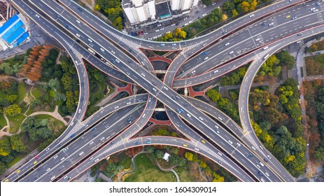 Aerial view Shanghai spectacular elevated highway and convergence of roads, bridges, junction and interchange overpass, viaducts in Shanghai, transportation and infrastructure in urbanChina