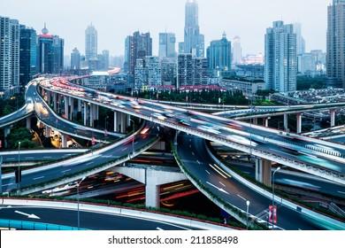 Aerial view of Shanghai viaduct night, severe traffic congestion