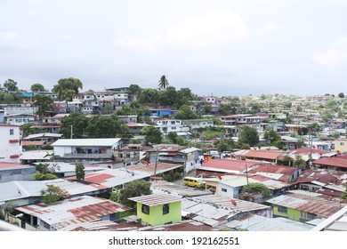 Aerial view of shanty towns in Panama City, Panama