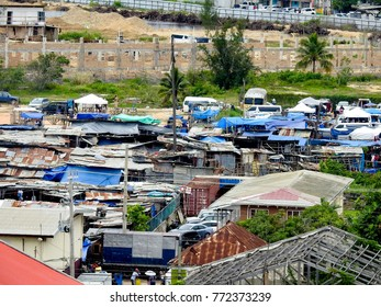 Aerial View of a Shantytown in Falmouth, Jamaica - November 22, 2017.  View of a Shantytown in Falmouth, Jamaica was taken while in Falmouth, Jamaica on November 22, 2017.