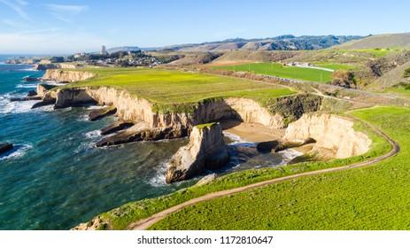 Aerial View of Shark Fin Cove in Davenport / Santa Cruz California