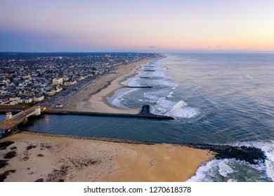 Aerial view of Shark River Inlet at sunrise near Belmar New Jersey
