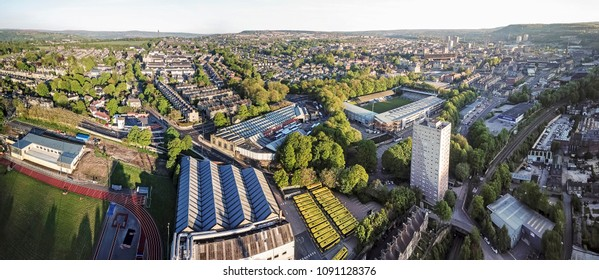 Aerial view from Shaw Mill of Halifax, Calderdale, West Yorkshire, UK