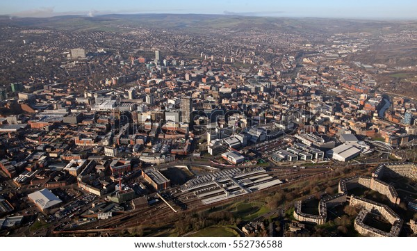 aerial view of Sheffield city centre, South Yorkshire, UK