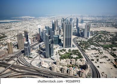 Aerial view of Sheikh Zayed Road (Dubai)