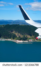 Aerial view Shelly Bay on the Miramar Peninsula, Wellington. Famous for the Chocolate Fish cafe