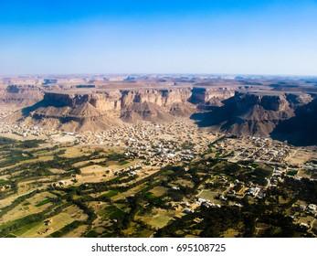 Aerial view to Shibam city and wadi Hadhramaut in Yemen