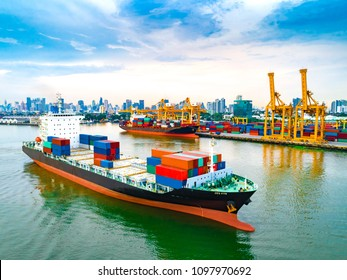 Aerial view of ship cargo containers to harbor in sunrise against urban scene, with export and import business and logistics.