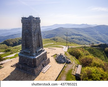 Aerial view of the Shipka monument symbolising the liberation of Bulgaria.