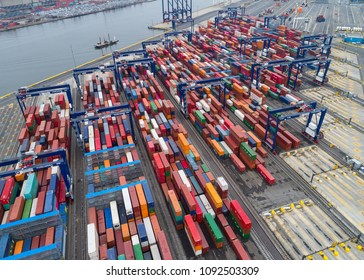 Aerial view of shipping containers on a dock at the Port of Cape Liberty in Bayonne, New Jersey on March 28, 2018