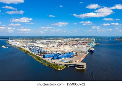 Aerial view of shipping terminal port.