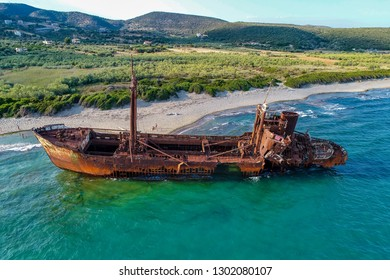 aerial view of Shipwreck Dimitrios (formerly called Klintholm) in Gythio Peloponnese, in Greece