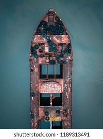 Aerial view of shipwrecks at the Staten Island Boat Graveyard