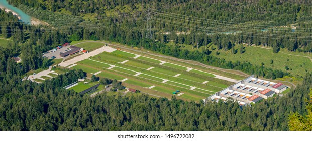aerial view to shooting range of army in city Mittenwald