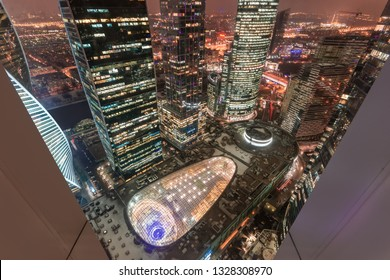 Aerial view of shopping and entertainment complex business complex Moscow City at night