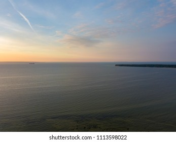 Aerial view to the Shoreline of Baltic sea beach