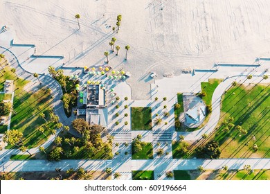 Aerial view of the shoreline in Venice Beach, CA