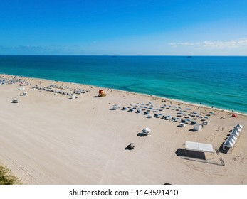 An aerial view of the shores of south beach Miami.
