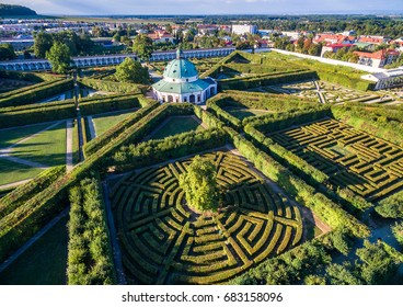 Aerial view shot of the Kromeriz Kvetna Garden - part of the Unesco Czech Heritage  - Shutterstock ID 683158096
