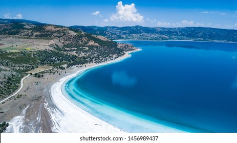 aerial view shot salda lake of burdur