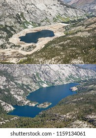 aerial view showing low water level and full level in South Lake reservoir in California in 2014 and 2018
