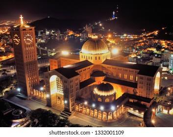Aerial view of the Shrine of Nossa Senhora Aparecida, Aparecida, Sao Paulo, Brazil. Patroness of Brazil. Church, temple, religion, faith. Catholic church. Catholic Religion. Catholic Priest.