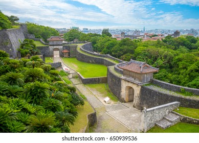 aerial view of shuri castle in okinawa, japan