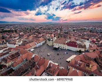 Aerial View of Sibiu at sunset in Transylvania, Rumania