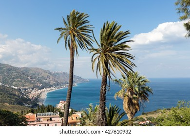 Aerial view at the Sicilian coast near Taormina at Sicily, Italy