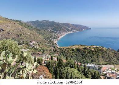 Aerial view at the Sicilian coast near Taormina, Italy