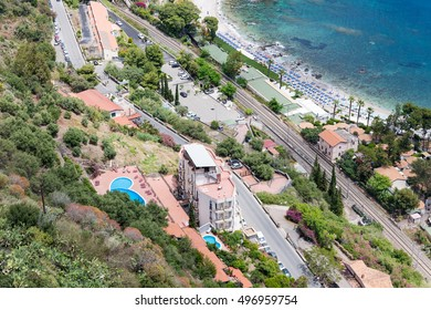 Aerial view Sicilian coast of Taormina with hotels and beaches