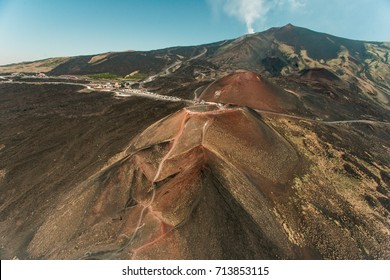 Aerial view of Sicily and Etna volcano