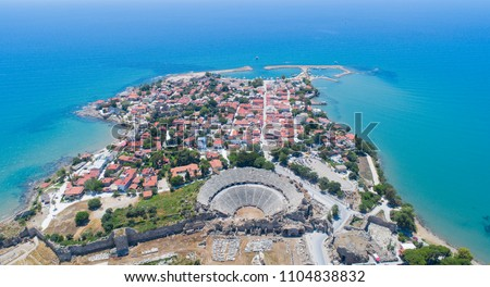 Aerial view of Side city in Antalya Turkey