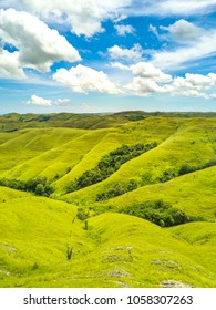 Aerial view of sidehill at Sumba Island, Indonesia