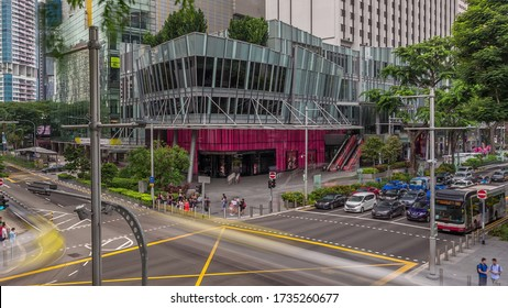 Aerial view of sidewalk and intersection of Orchard road in Singapore view . Orchard road is one of best shopping district in Singapore.