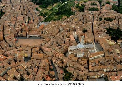 Aerial view of Siena city, i Tuscany Italy