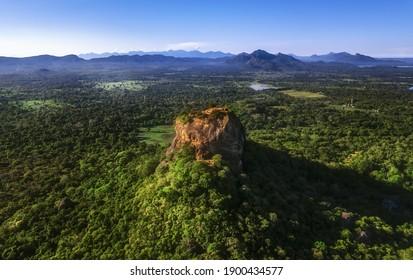 Aerial view of Sigiriya lion rock , Sri Lanka